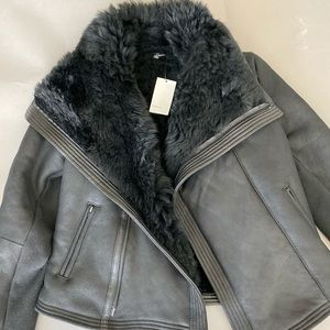 NWT VINCE BLACK LEATHER SHEARLING JACKET M